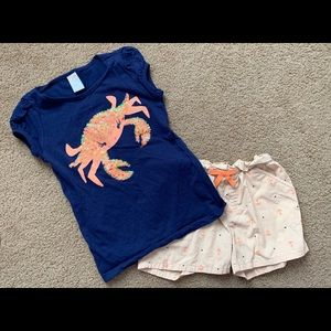 Gymboree girls shirt and shorts outfit, size 7